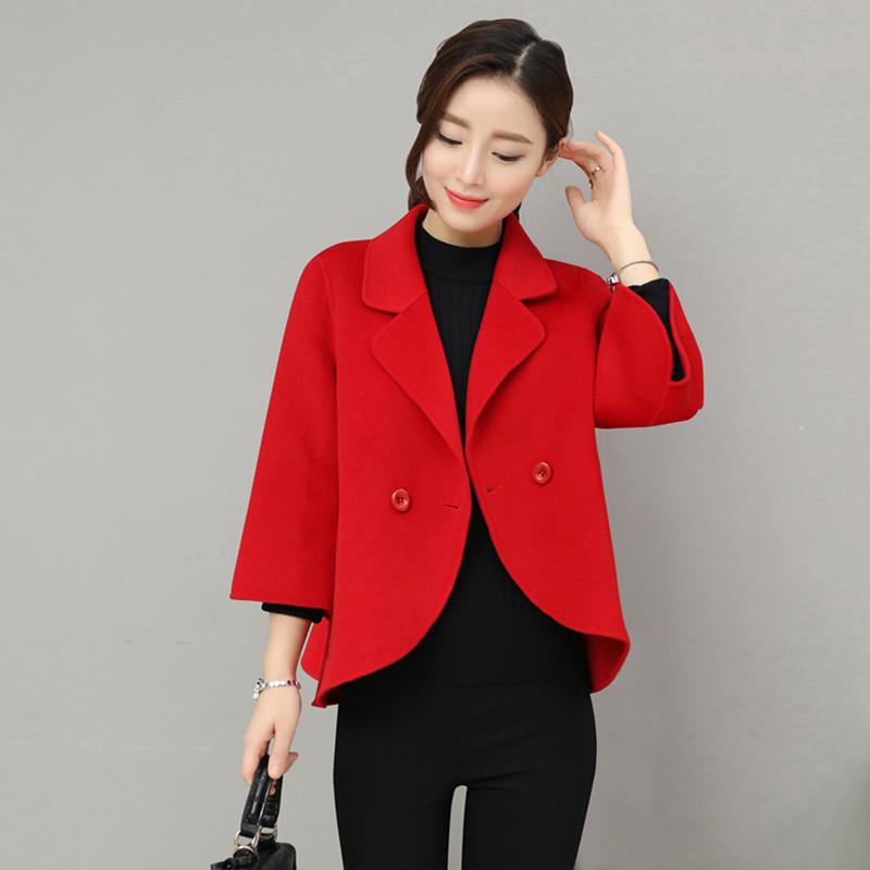 毛呢外套女短款2020秋冬季韩版百搭小香风加厚呢子小西装领短外套
