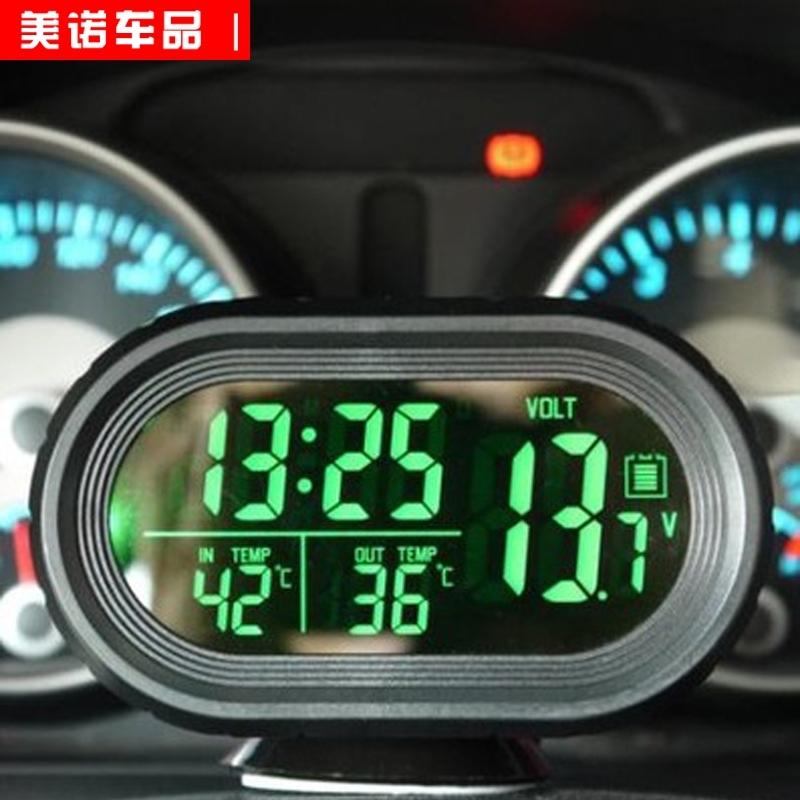汽车时钟 车内外双温度计车载车用数字显电子表 带夜光 电子钟led