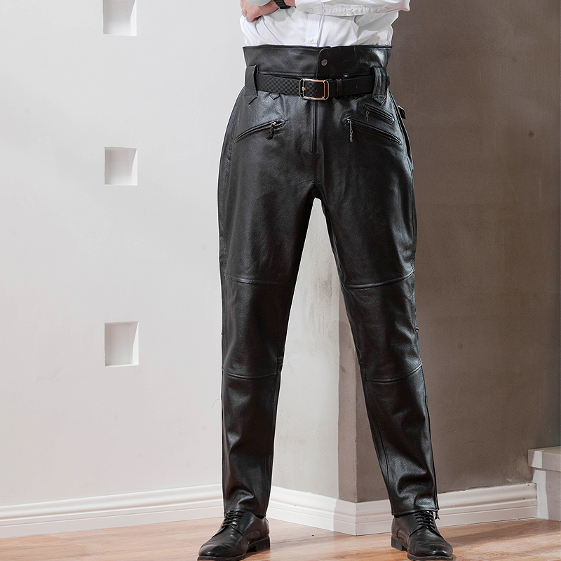 Leather leather pants mens loose fur one-piece pants motorcycle leather pants with plush thickened top layer cow leather high waist cotton pants
