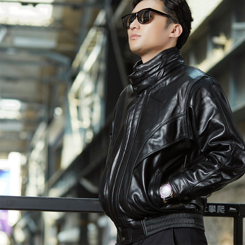 Off season leather jacket for male pilot leather jacket for head leather motorcycle leather jacket for male pick up short Harley leather jacket