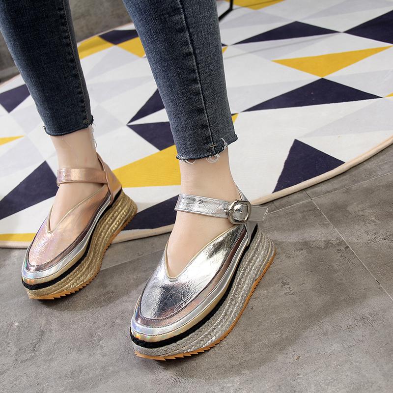 欧洲站2019春夏新款明星同款厚底松糕底坡跟浅口单鞋瓢鞋休闲女鞋