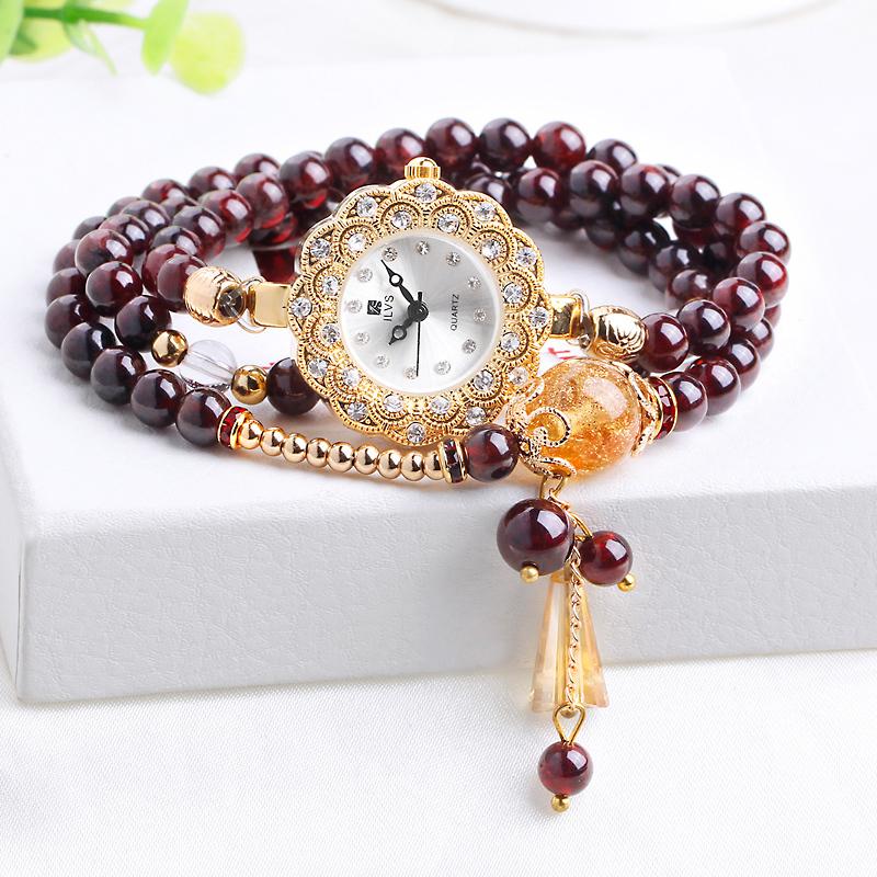 生日礼品手表送女生防水镶钻时尚潮流水晶玛瑙贝壳石榴石英手链表