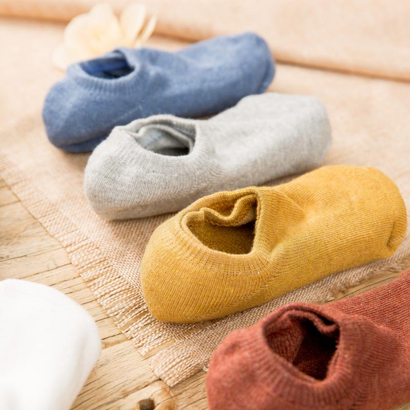 船袜女秋冬季加绒加厚保暖浅口纯棉毛圈短袜子冬天硅胶防滑隐形袜