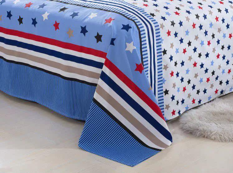 床品于婆婆 纯棉印花加厚老粗布 单双人床单被单 粗布帆布床单包