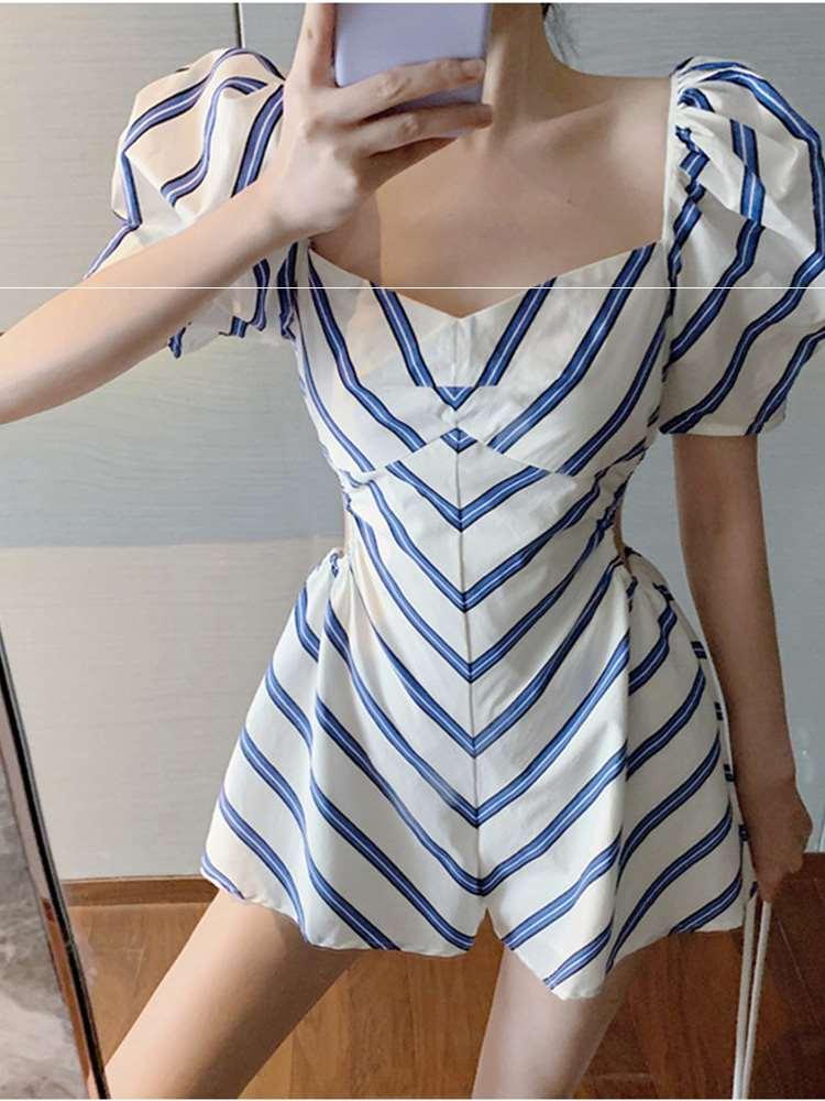 修身性感方领露肩镂空条纹连衣裙女夏法式小心机设计感高腰连体裤