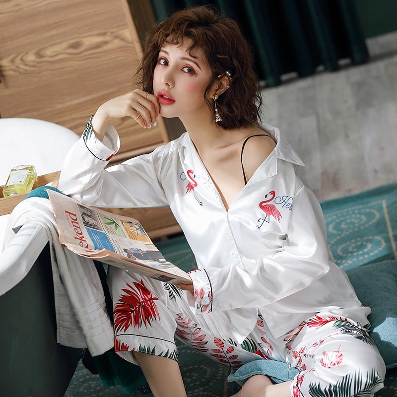 冰丝春秋季长袖卡通丝绸韩版睡衣