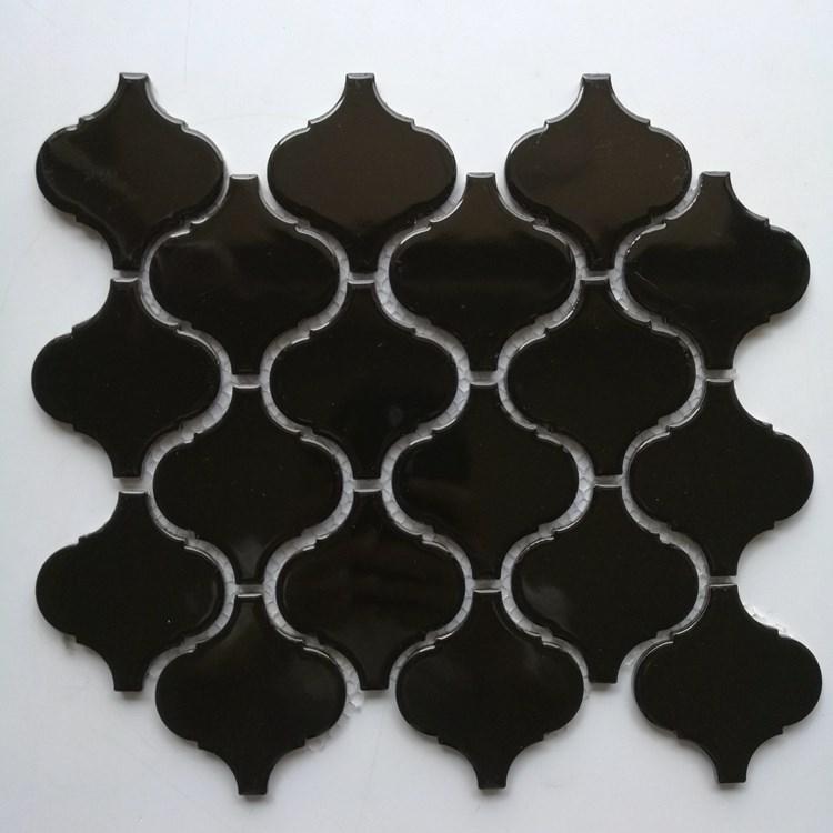 家装主材 纯白色 灰色 黑色灯笼形陶瓷马赛克瓷砖 别墅浴室异形砖