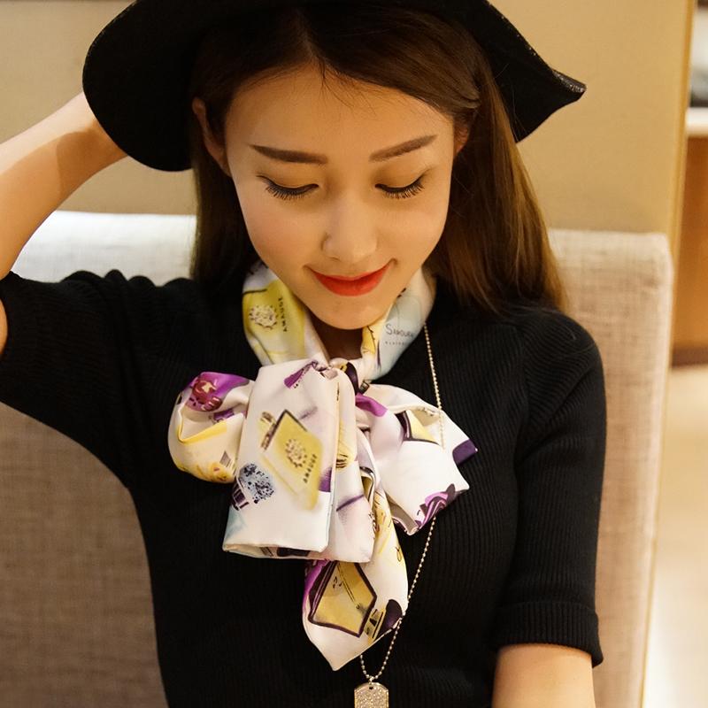 韩版小丝巾女春秋丝巾百搭长款方巾领巾细窄围巾长条纱巾领带装饰