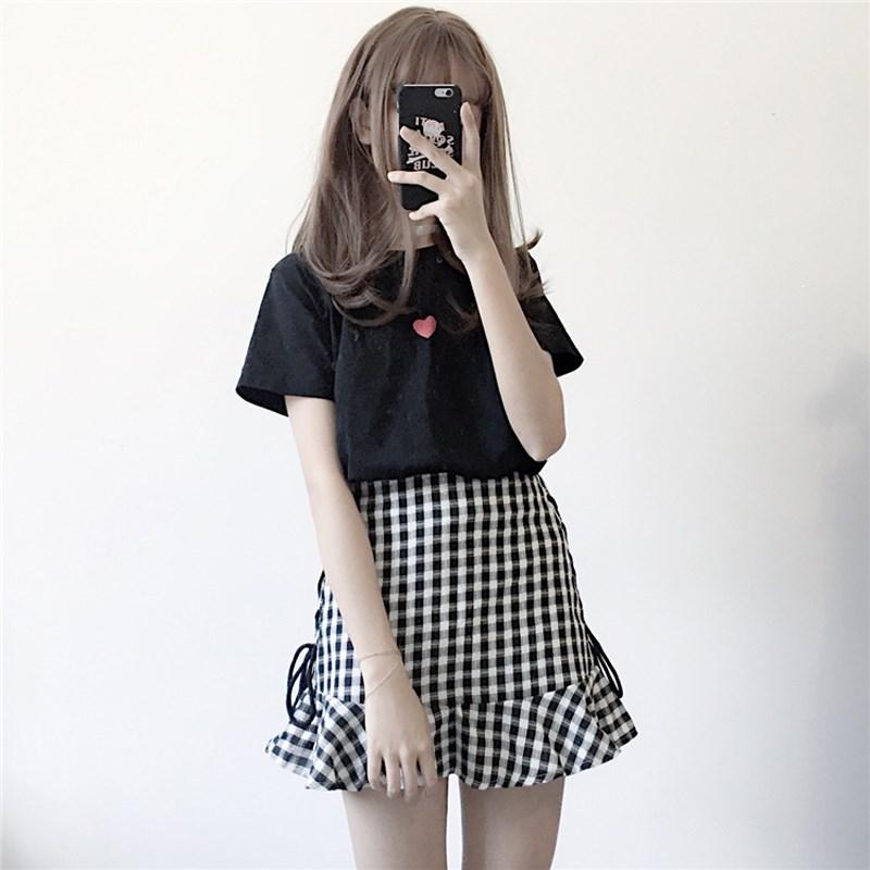 春�b女�b�n版�W院�L少女蝴蝶�Y系�Ц哐�荷�~�包臀短裙�半身裙子