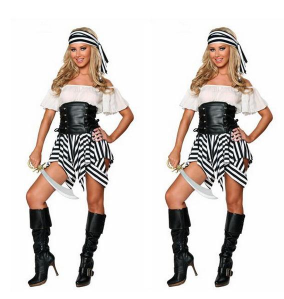 新款万圣节party加勒比海盗女海盗服装DS演出服欧美游戏制服5011,可领取元淘宝优惠券