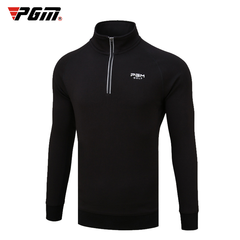 Autumn and winter mens high neck long sleeve sweater Plush thickened warm shirt quick drying top slim fit leisure sports T-shirt