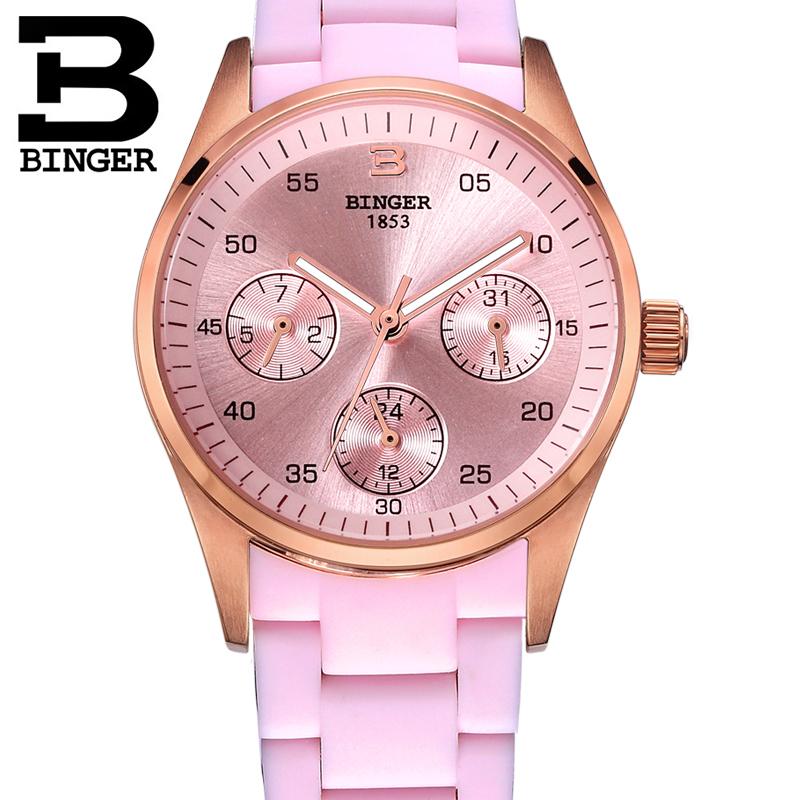宾格BINGER手表女表新款钻防水表石英表超薄时尚唯爱皮带女士腕表