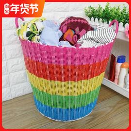 脏衣服收纳筐家用藤编篮子塑料编织篓洗衣桶玩具篮装放衣服的神器