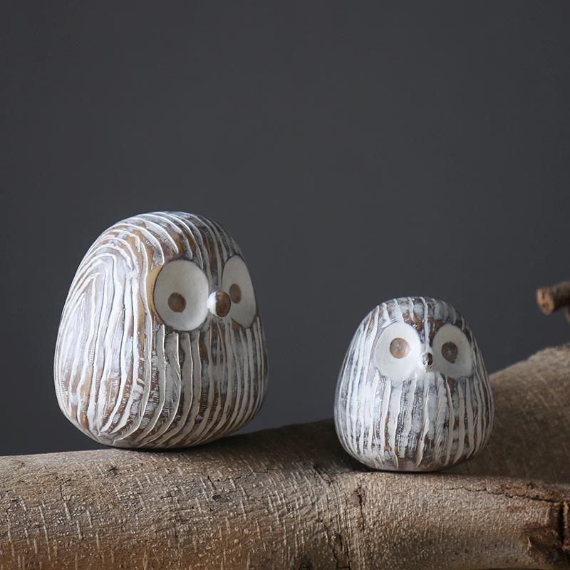 北欧现代简约树脂猫头鹰小动物摆件客厅书房书架卧室家居小装饰品