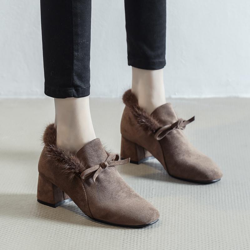 毛毛鞋女冬外穿2020年新款百搭韩版加绒粗跟单鞋中跟豆豆鞋高跟鞋