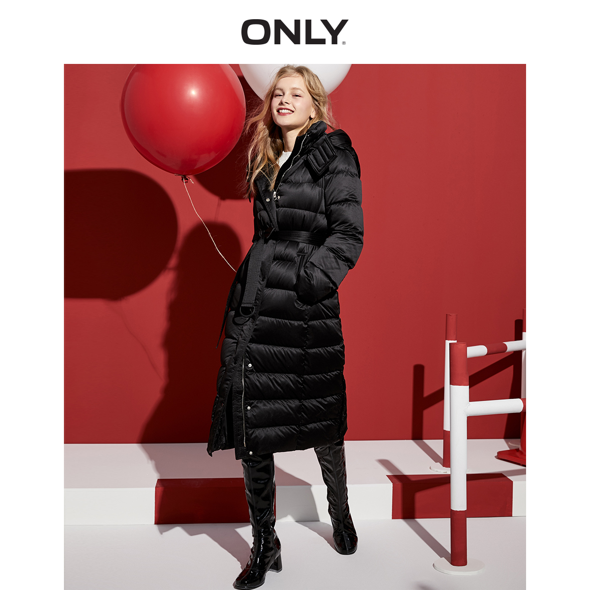 Only2019 new style simple waist length knee length hooded down jacket for women 11942510