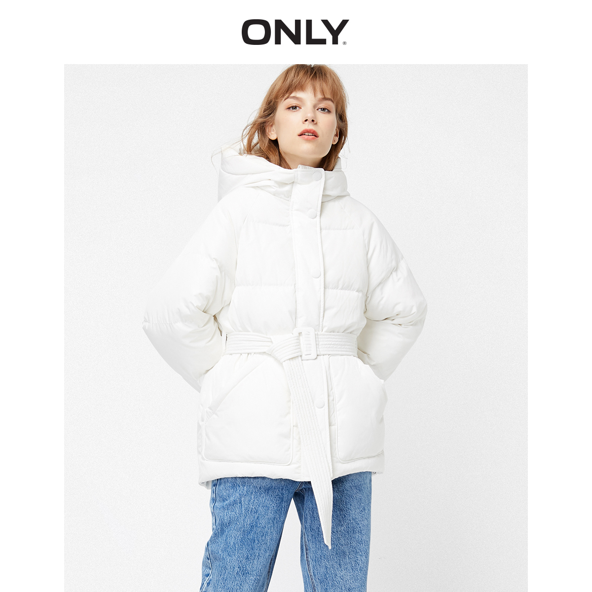 Only spring new hooded straight waisted white duck down bread down jacket for women 119323533