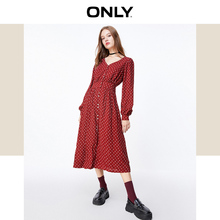 ONLY 2009 Autumn and Winter New Retro Point Printed V-collar Slim Dresses 119307624