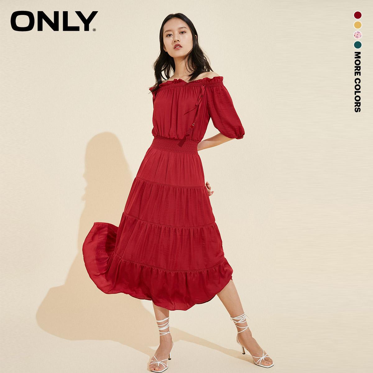 ONLY夏季新款收腰显瘦一字肩长款雪纺连衣裙女|120207530