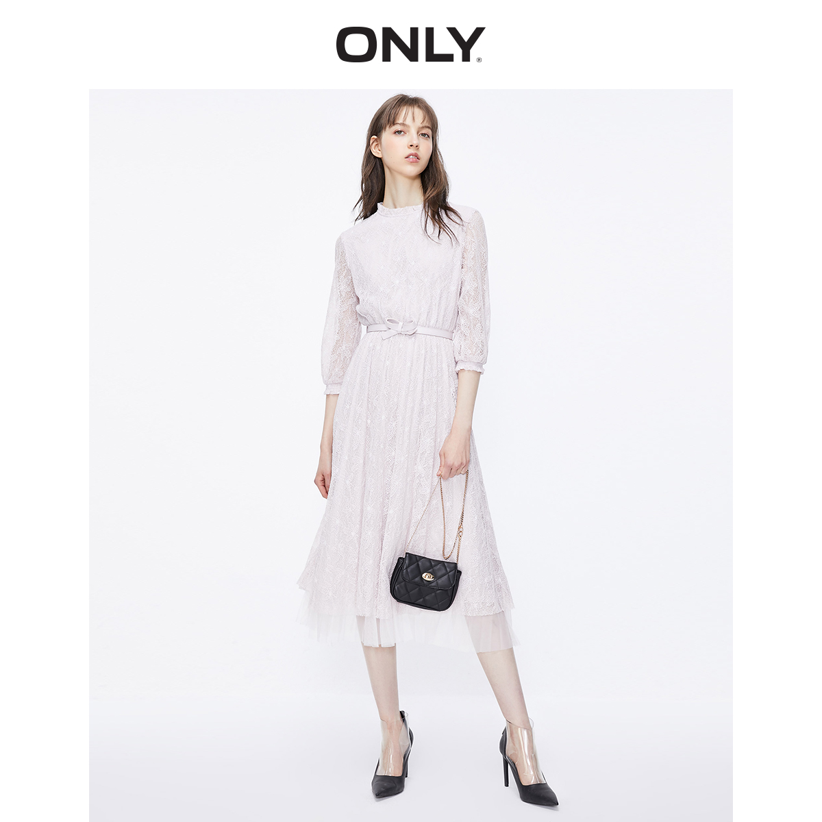 Only2019 winter new fashion lace mesh waist closing fairy sweet dress female 119307528