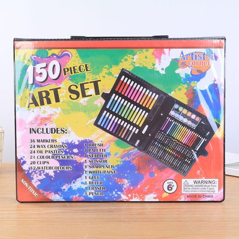 新疆包邮百货哥儿童画笔150件套绘画彩笔美术画笔套装礼盒文具用