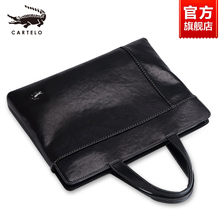 Crocodile Man's Briefcase Genuine Leather Horizontal Bag Hand Cattle Leather Bag Business One Shoulder Slant Bag Leisure Handbag