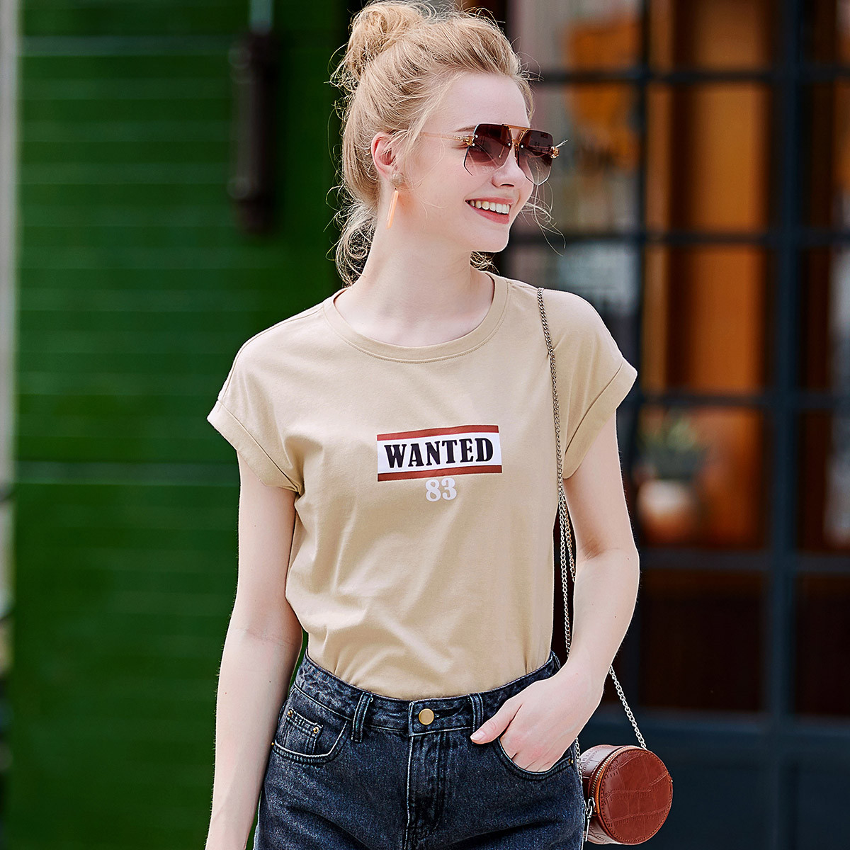 夏新品恤T2019女款字母印花简约宽松落肩百搭休闲