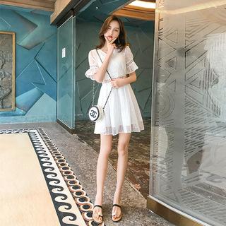 网红女装2020雪纺连衣裙夏季新款韩版纯色短袖A字裙