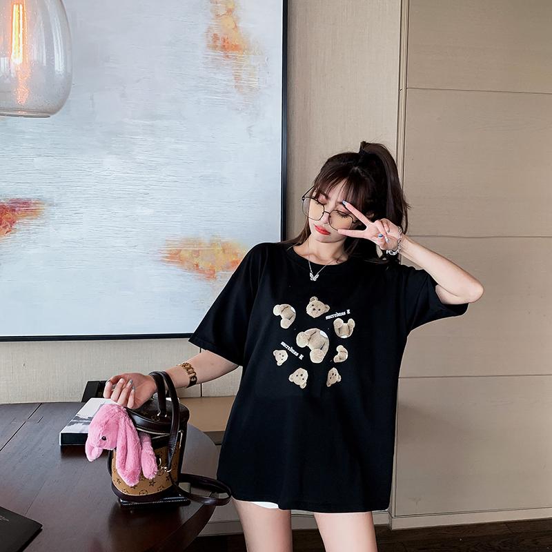 Lower garment disappearing pure cotton short sleeve Korean loose medium length top net red ins super fire tide Harajuku port style T-shirt women