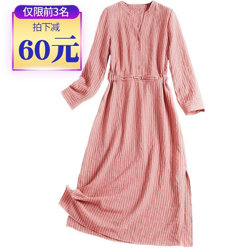 早秋新款女装2019年流行裙子时尚气质开叉条纹连衣裙长裙显瘦显高10-27新券