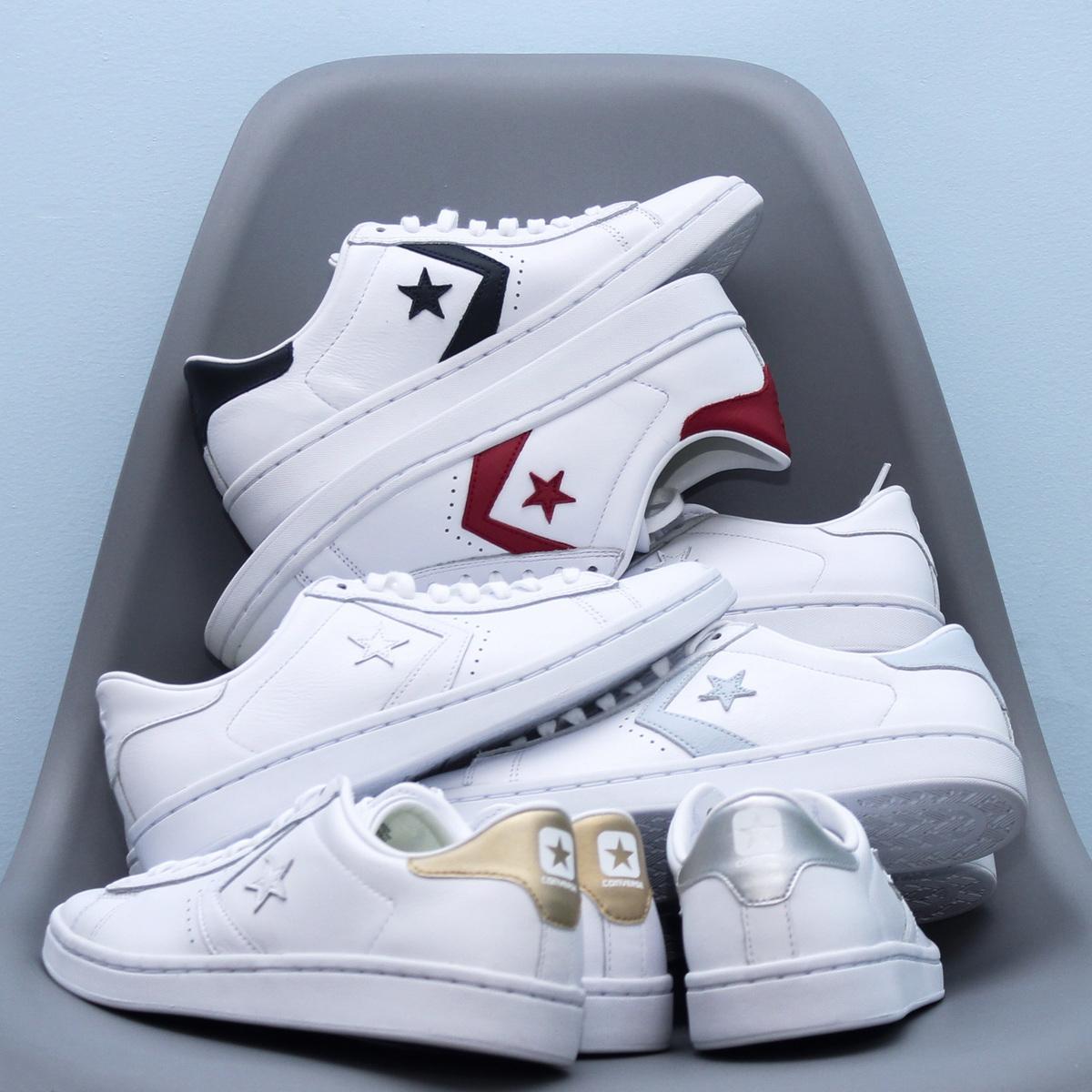 限3000张券Converse匡威pro star leather星箭滑板鞋红蓝鸳鸯牛皮低帮5