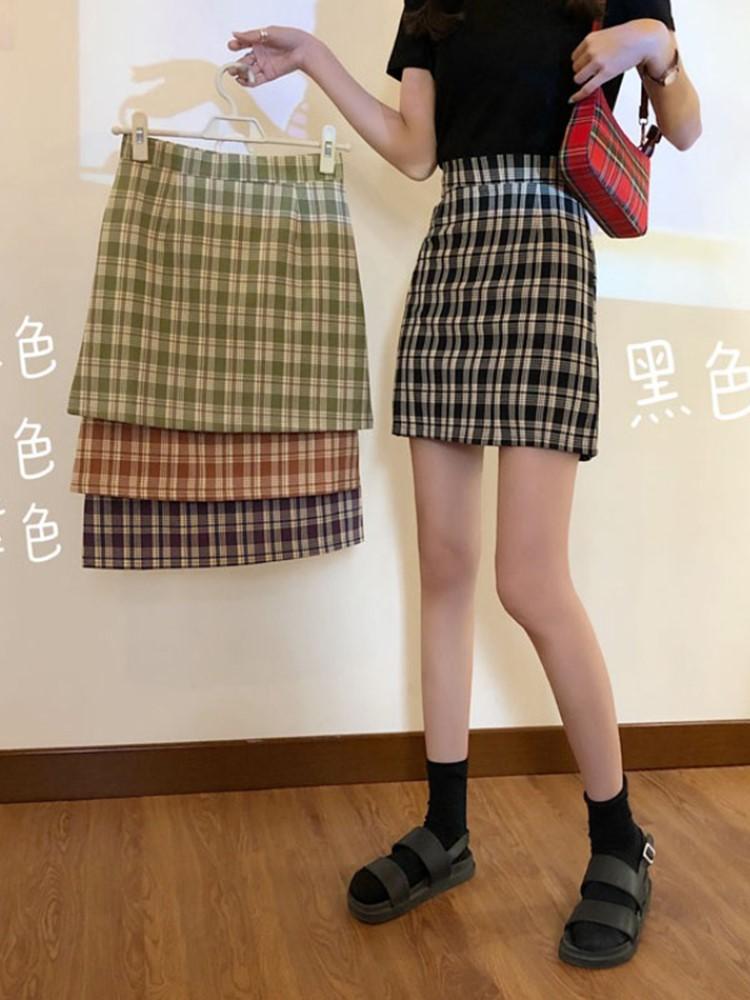 bm风裙子女夏季2021新款韩版百搭高腰显瘦格子半身裙时尚A字短裙