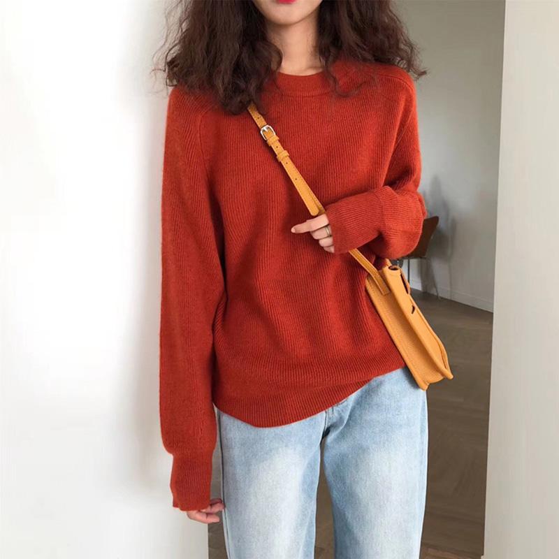 百思朵港味复古ins砖红色毛衣女韩版秋冬基础款纯色长袖针织上衣