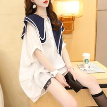 2021新款娃娃领雪纺衬衫大码女装蝙蝠半袖韩版宽松遮肚子显瘦上衣