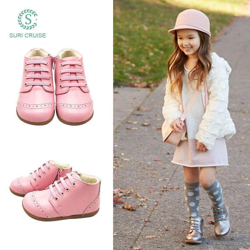 Girls Leather Boots Leather Plush childrens winter new princess shoes soft bottom warm thickened baby cotton boots