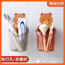 创意小熊牙膏牙刷收纳架挂式梳子置物架免打孔洗漱台浴室沥水挂架
