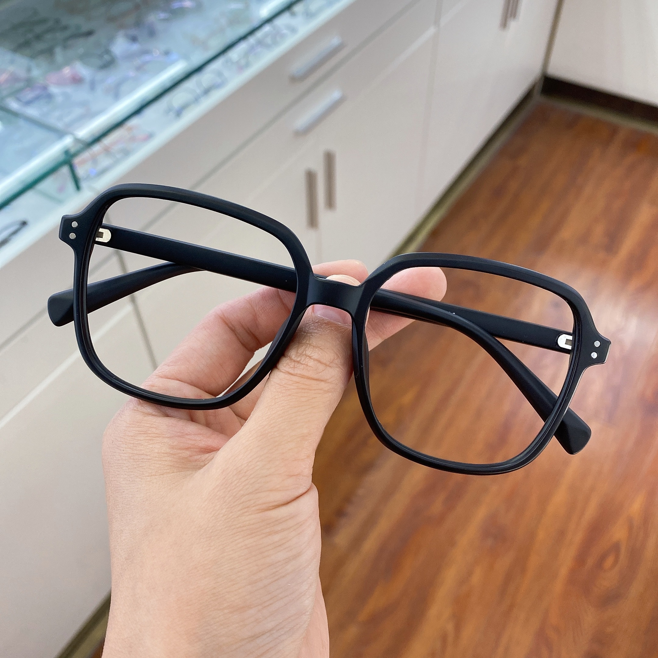 2021 new matte black tr retro large frame myopia Blu ray lens with transparent frame for men and women