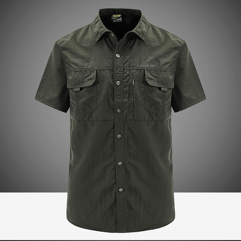 Jeep shield quick dry summer short sleeve shirt mens loose half sleeve large casual work clothes outdoor shirt mens fashion