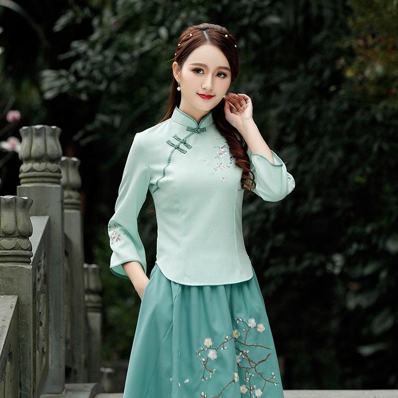 棉麻中袖复古中式盘扣旗袍上衣 改良时尚短款民国风唐装女装汉服