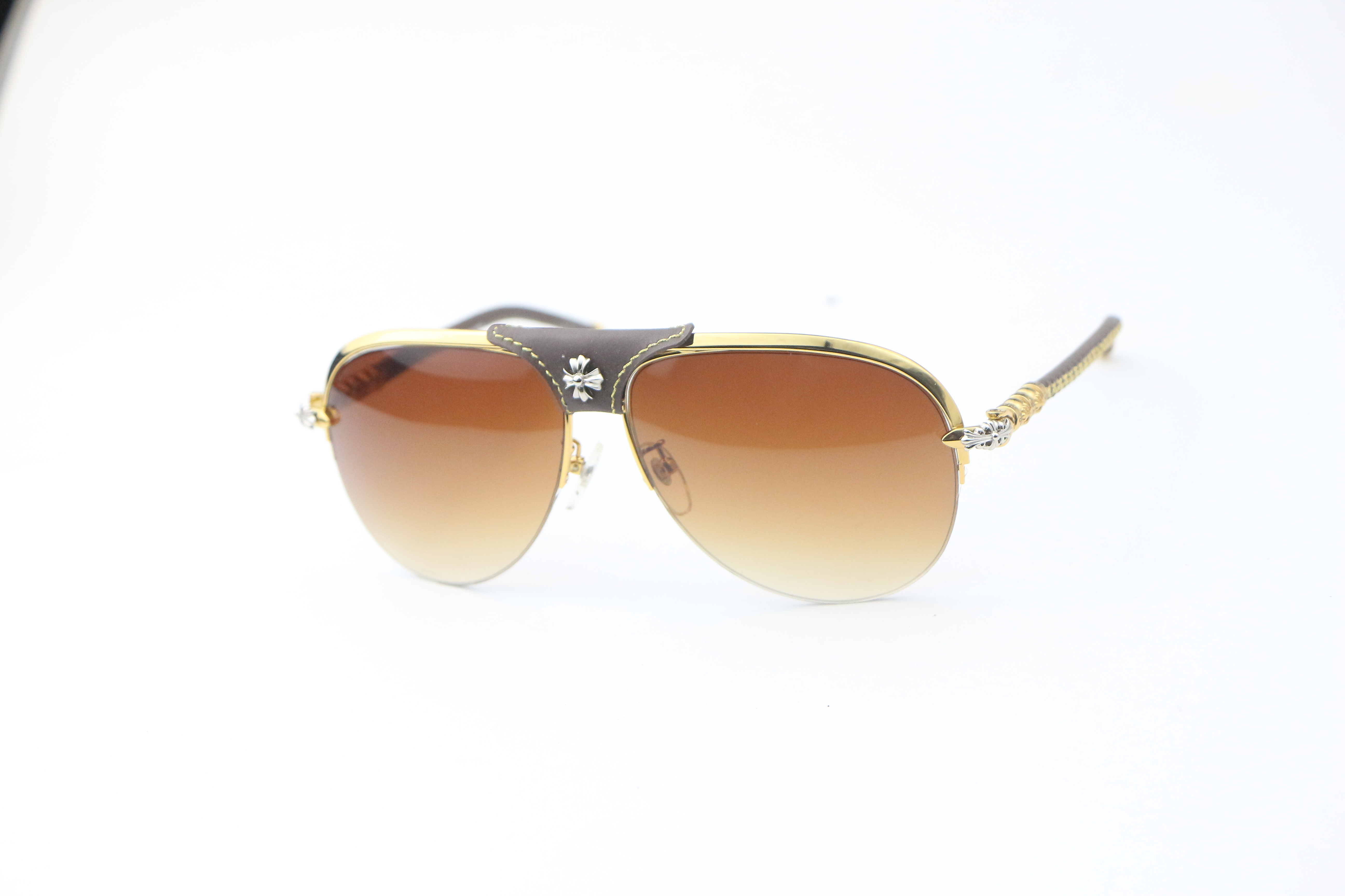 Mens toad glasses gradient lenses leather buckle metal sunglasses xykcher brown large frame Classic Sunglasses