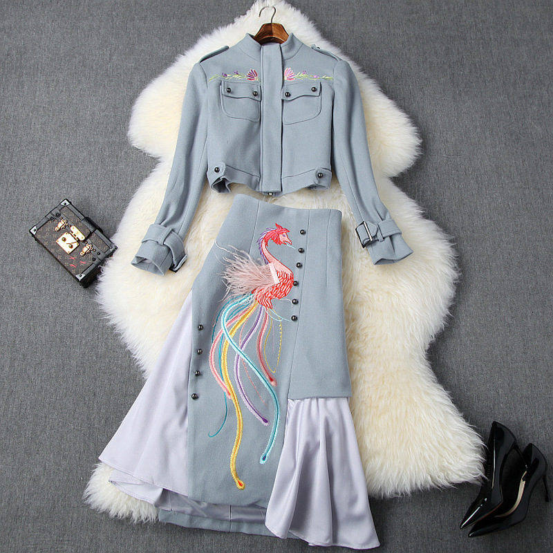 2020 spring and Autumn New Womens stand collar woolen short coat + irregular embroidery skirt two piece set