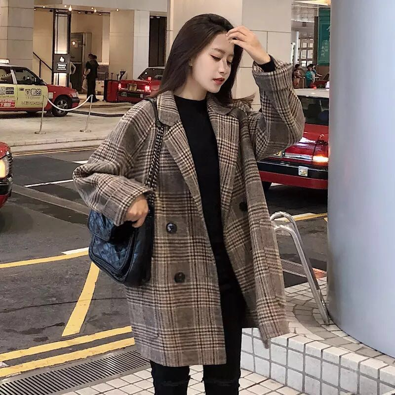 Nizi overcoat womens fashionable new style Korean jacket with cotton wool small subnet Red Plaid suit coat in autumn and winter 2020