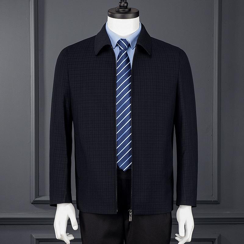 男式夹克外套男2021新款男士翻领茄克衫上衣中年商务男装爸爸装