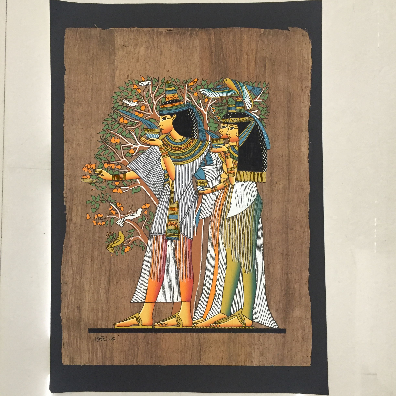 埃及纸莎画 人工手绘 生命之树 奈菲尔提提 伊西斯 艳后 精油