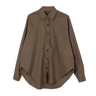 最小的海 韓版襯衫女秋冬款純色百搭長袖襯衣設計感上衣小眾寬鬆