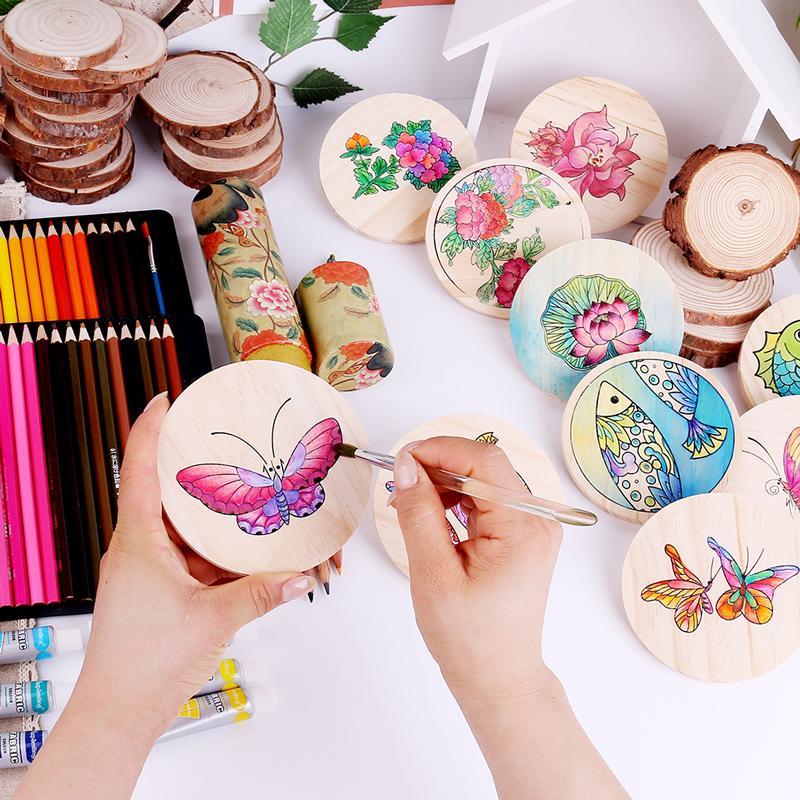 新製品の環境保護の3つの材料DIY手作りの絵画の木の断熱落書きのアイデア韓国式かわいいコースター茶道
