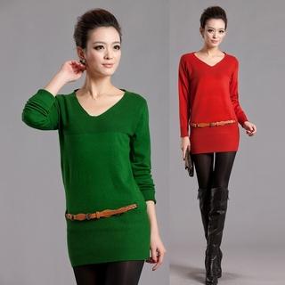 2020秋装新款 韩版新品V领长袖针织衫女装中长款毛衣秋季打底衫