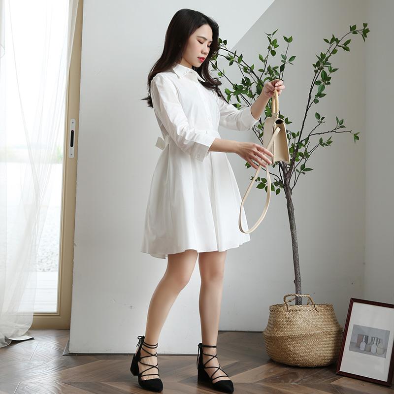 2019春装新款小个子气质简约白色长袖衬衫裙中长款收腰衬衣连衣裙(用1元券)