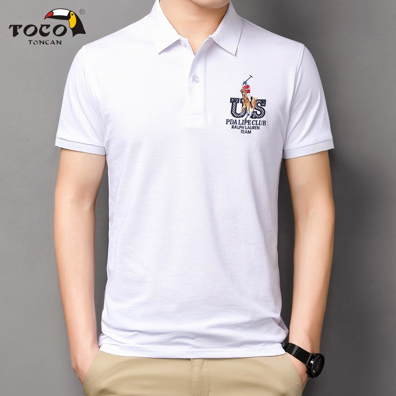 Aegean fashion polo shirt Lapel T-shirt business mens Polo embroidered middle-aged large size pearl ground net cotton toco