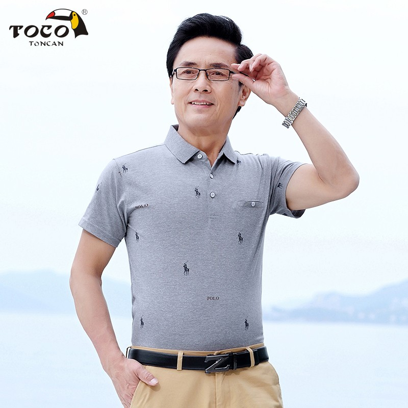 Short sleeve solid color polo shirt middle aged and elderly dads Lapel T-shirt Polo print pocket top Aegean bird mens wear